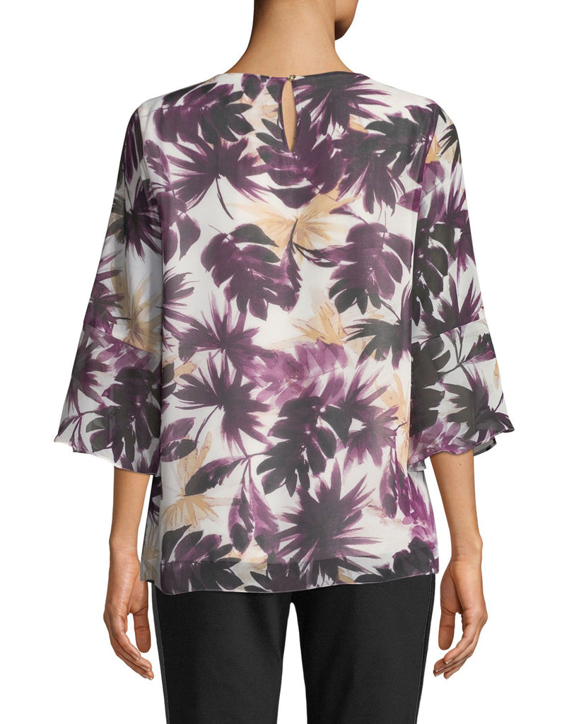 Yieldings Discount Clothing Store's Flare-Sleeve Leaf-Print Blouse by Calvin Klein in Multi