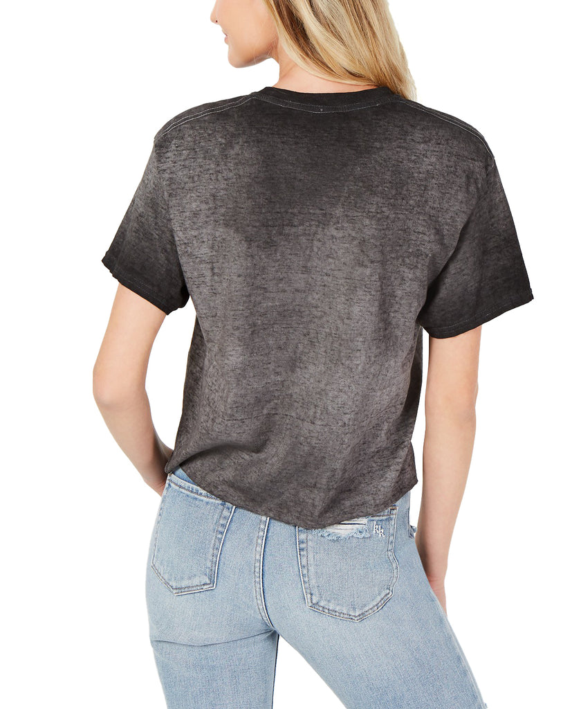 Yieldings Discount Clothing Store's Footloose Cropped T-Shirt by True Vintage in Jet Black