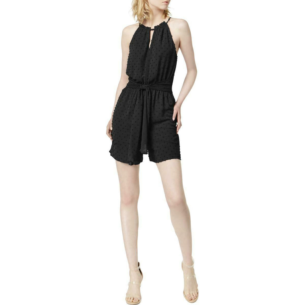 Yieldings Discount Clothing Store's Core Fashion Swiss Dot Halter Romper by Bar III in Deep Black