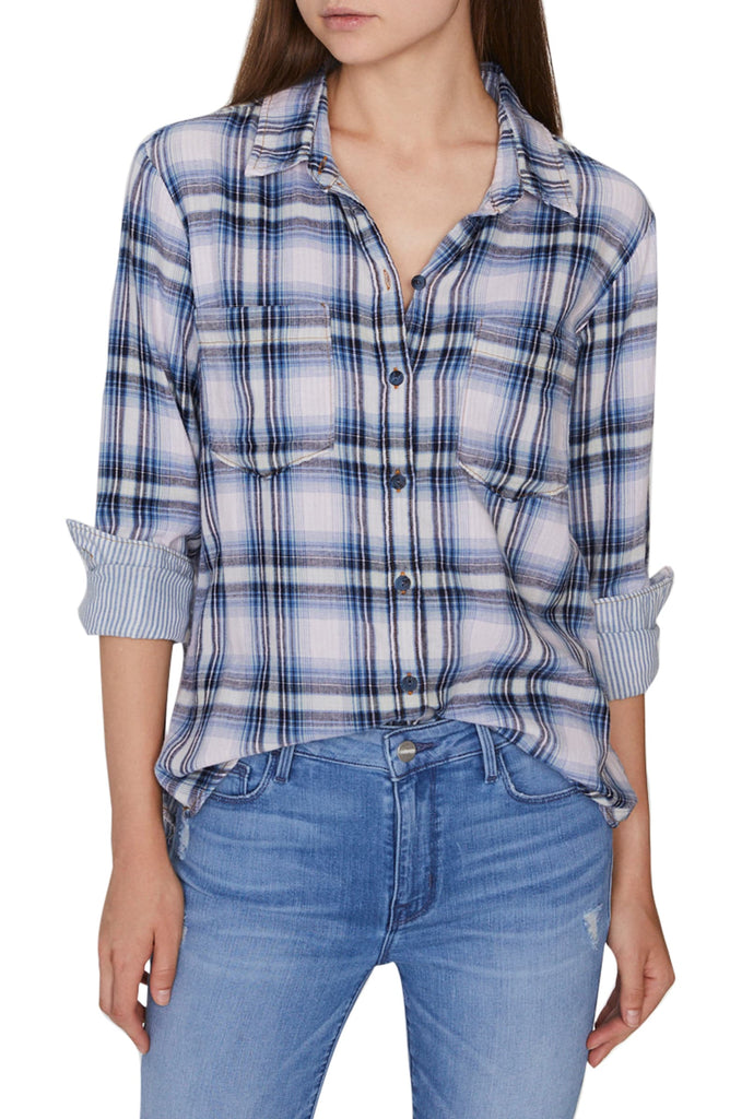 Yieldings Discount Clothing Store's Favorite Boyfriend Plaid Shirt by Sanctuary in Indigo Love Plaid