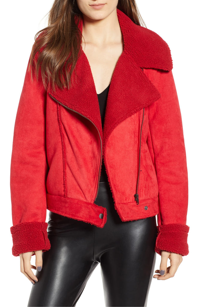 Yieldings Discount Clothing Store's Vegan Suede Sherpa Jacket by The Fifth Label in Sometimes Red