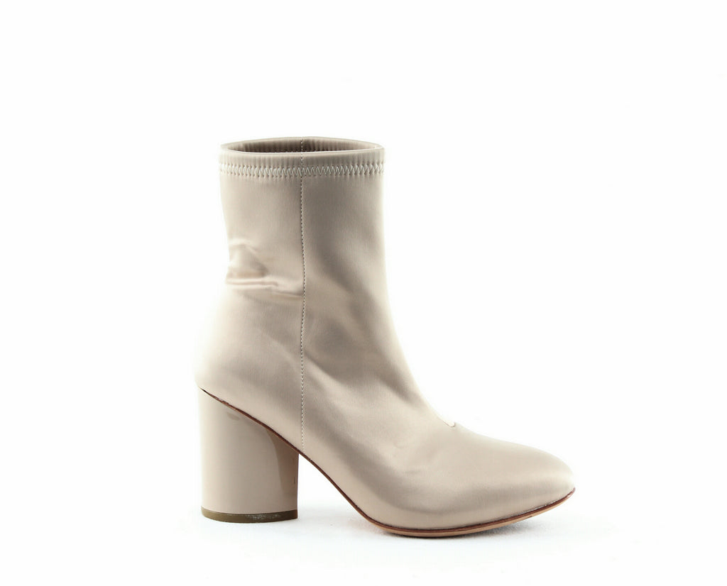 Yieldings Discount Shoes Store's Dylan Satin Block Heel Booties by Opening Ceremony in Nude