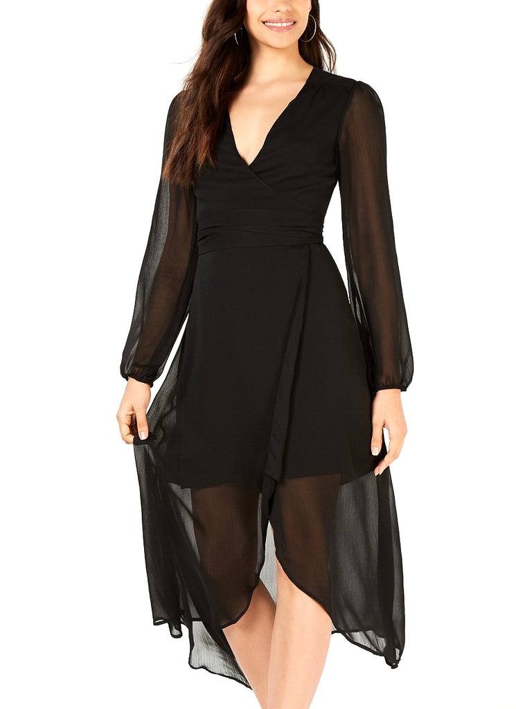 Yieldings Discount Clothing Store's Long Sleeve Wrap Dress by Leyden in Black