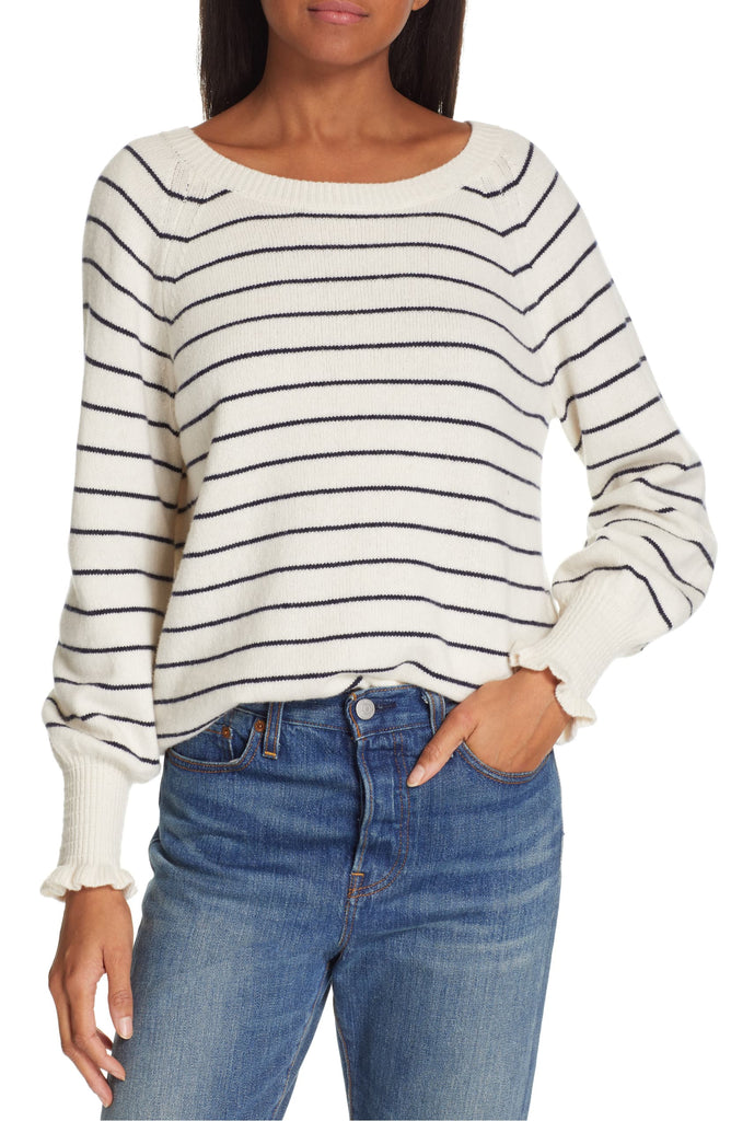 Yieldings Discount Clothing Store's Striped Sweater by Rebecca Taylor in Cream/Navy