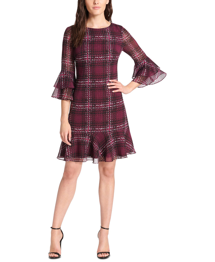 Yieldings Discount Clothing Store's Plaid Ruffled A-Line Dress by Jessica Howard in Wine