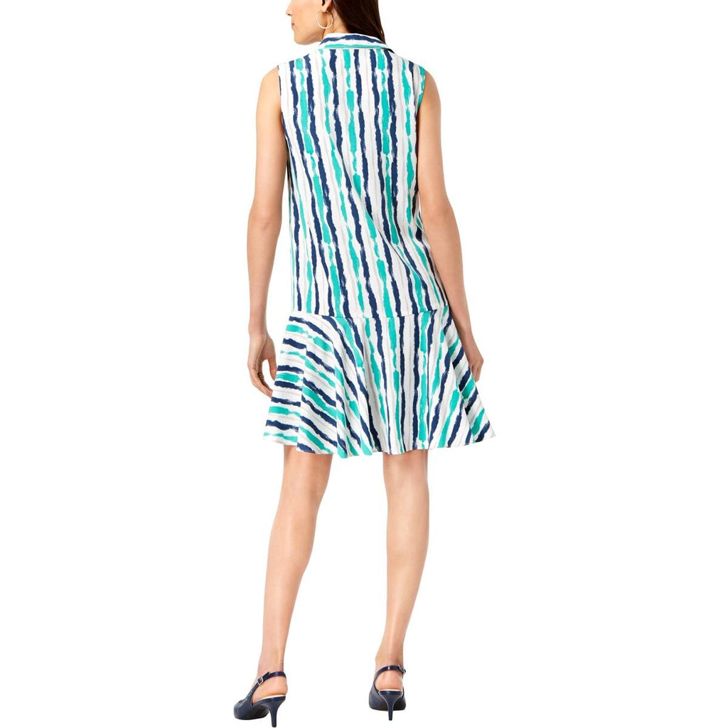 Yieldings Discount Clothing Store's Printed Sleeveless Shirtdress by Alfani in Painted Stripe