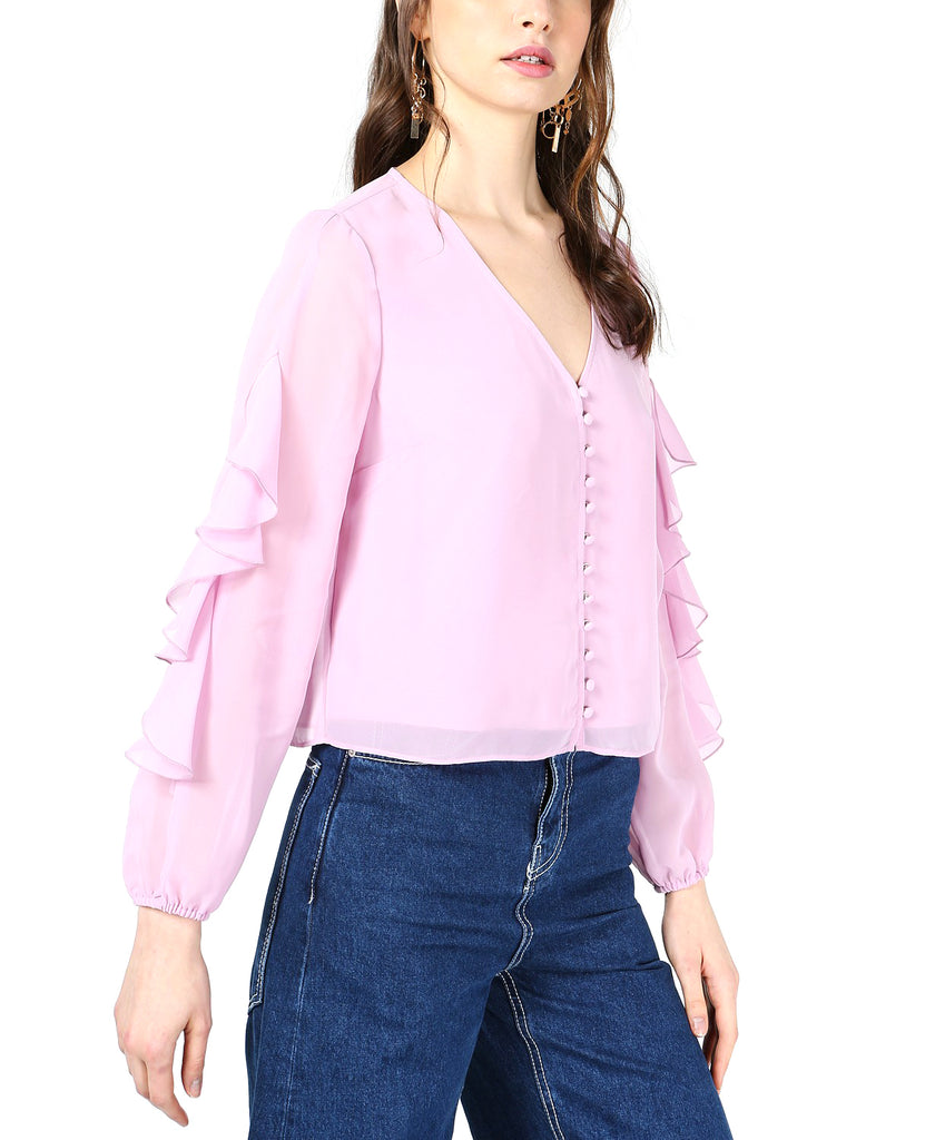 Yieldings Discount Clothing Store's Ruffle-Sleeve Button-Up Top by Bar III in Lily Lavender