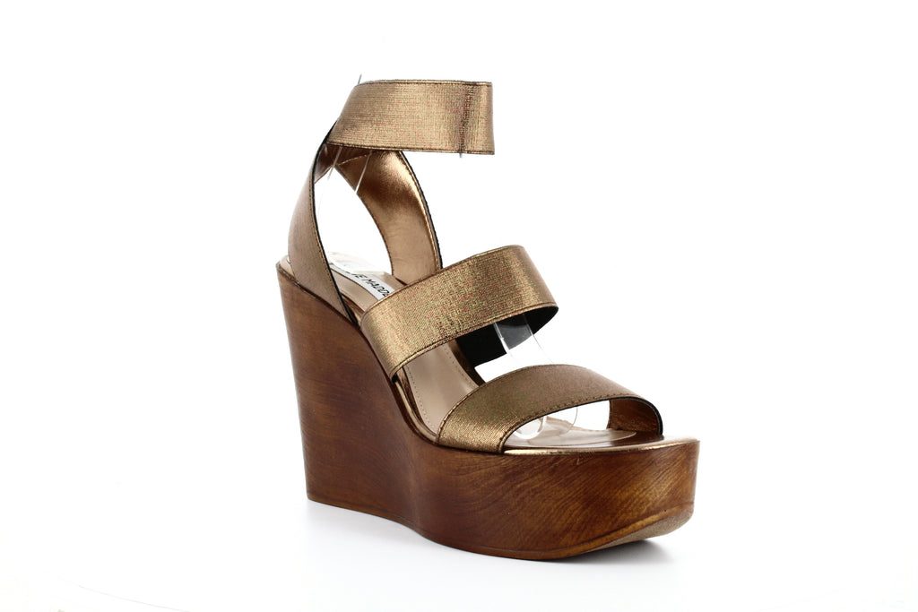 Yieldings Discount Shoes Store's Blondy Wedge Sandals by Steve Madden in Bronze