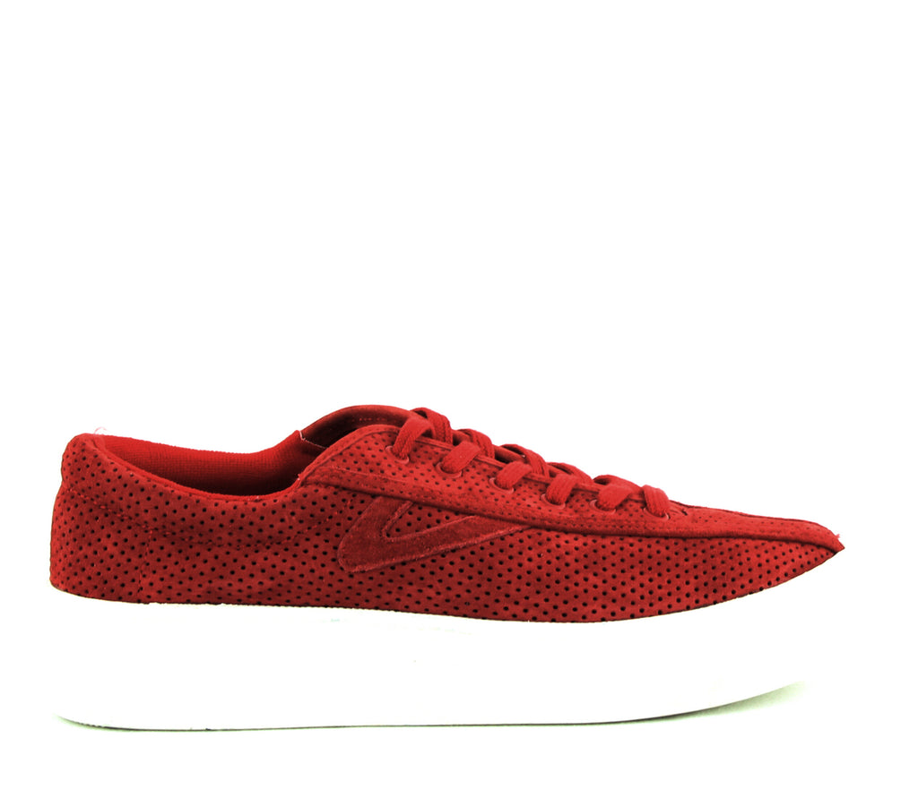 Yieldings Discount Shoes Store's Nylite 3 Bold Perforated Suede Sneakers by Tretorn in Formula One