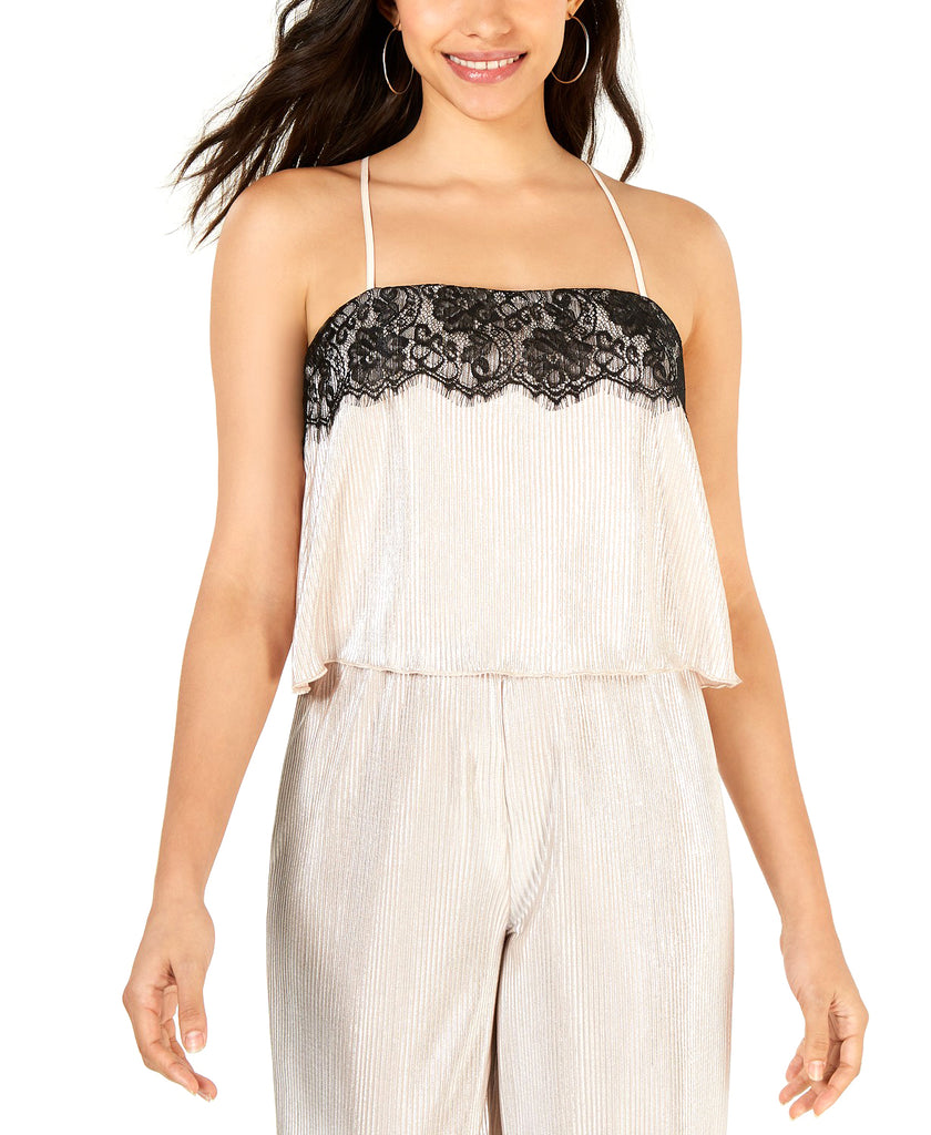 Yieldings Discount Clothing Store's Lace Trim Camisole Top by Leyden in Metallic Silver