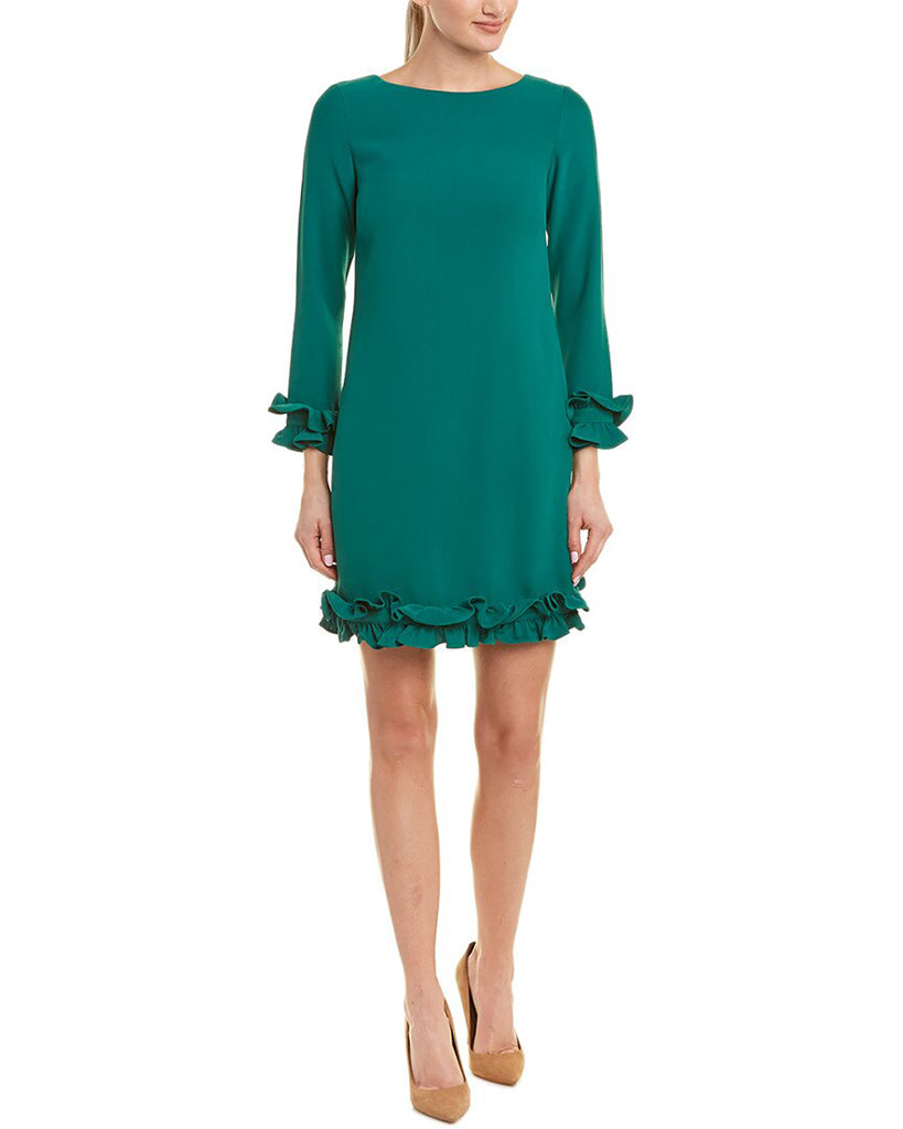 Yieldings Discount Clothing Store's Ruffle Sleeve Shift Dress by Sail To Sable in Hunter