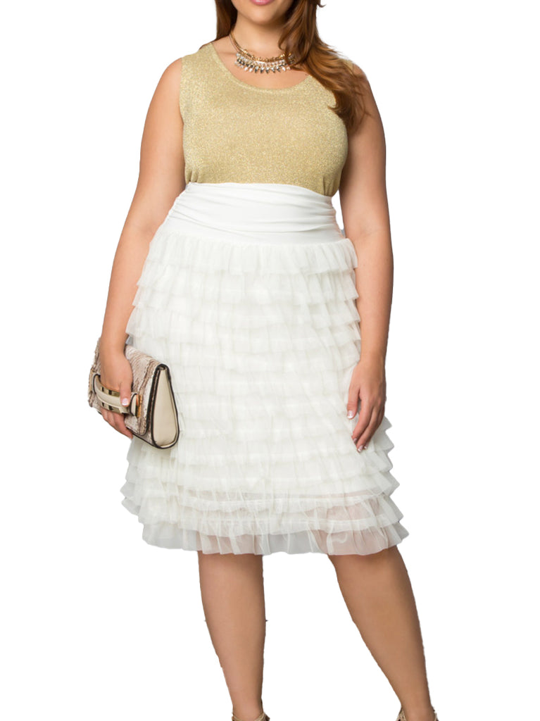 Yieldings Discount Clothing Store's Tiered Delight Tulle Skirt by Kiyonna in Ivory