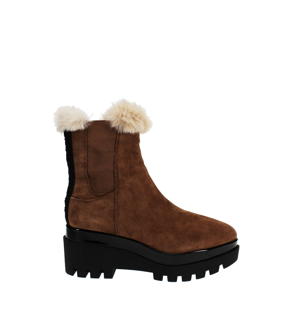 Yieldings Discount Shoes Store's Bax Wedge Booties by DKNY in Latte