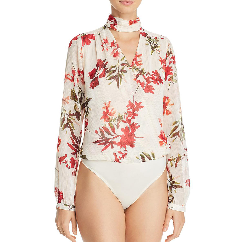 Yieldings Discount Clothing Store's Long Sleeve Camilla Bodysuit by Guess in Plumeria Floral Ivory