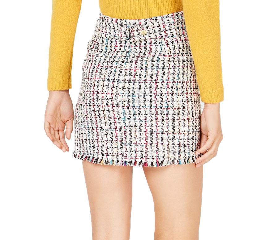 Yieldings Discount Clothing Store's Tweed Mini Skirt by Leyden in Black/White