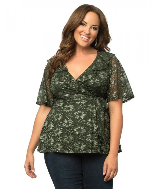 Yieldings Discount Clothing Store's Lustrous Lace Wrap Top by Kiyonna in Olive Green
