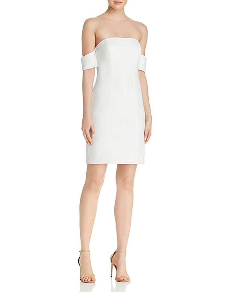 Yieldings Discount Clothing Store's Off-the-shoulder Scuba Crepe Dress by Aqua in White