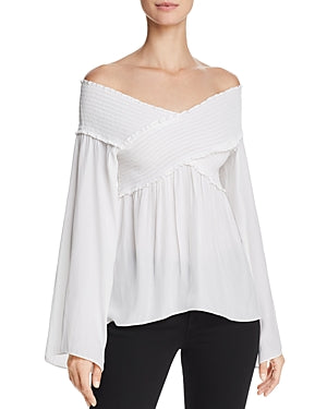 Yieldings Discount Clothing Store's Liza Off The Shoulder Top by Ramy Brook in Ivory