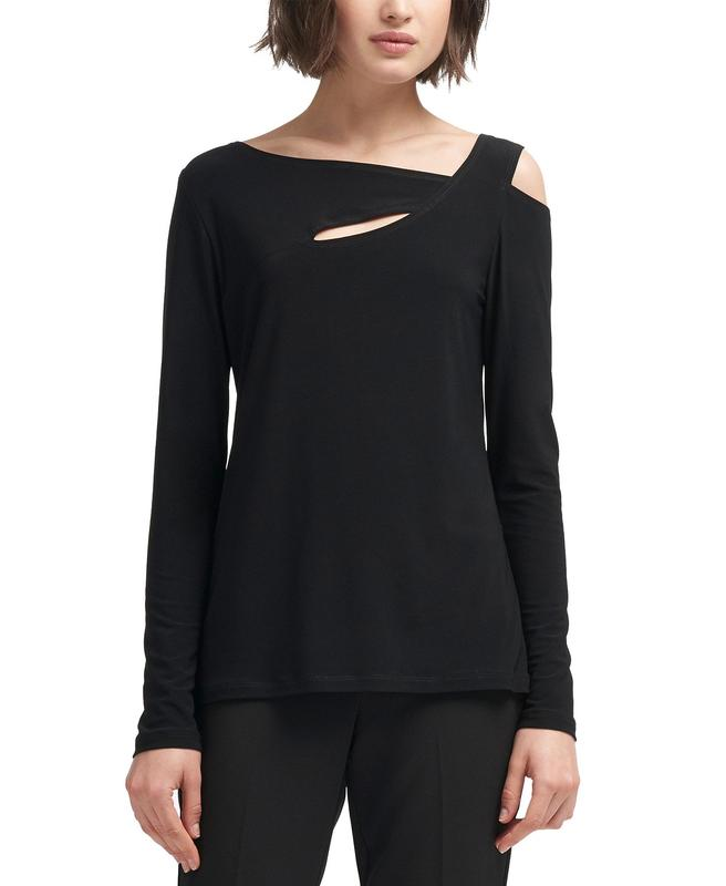 Yieldings Discount Clothing Store's Asymmetrical Cold-Shoulder Top by DKNY in Black