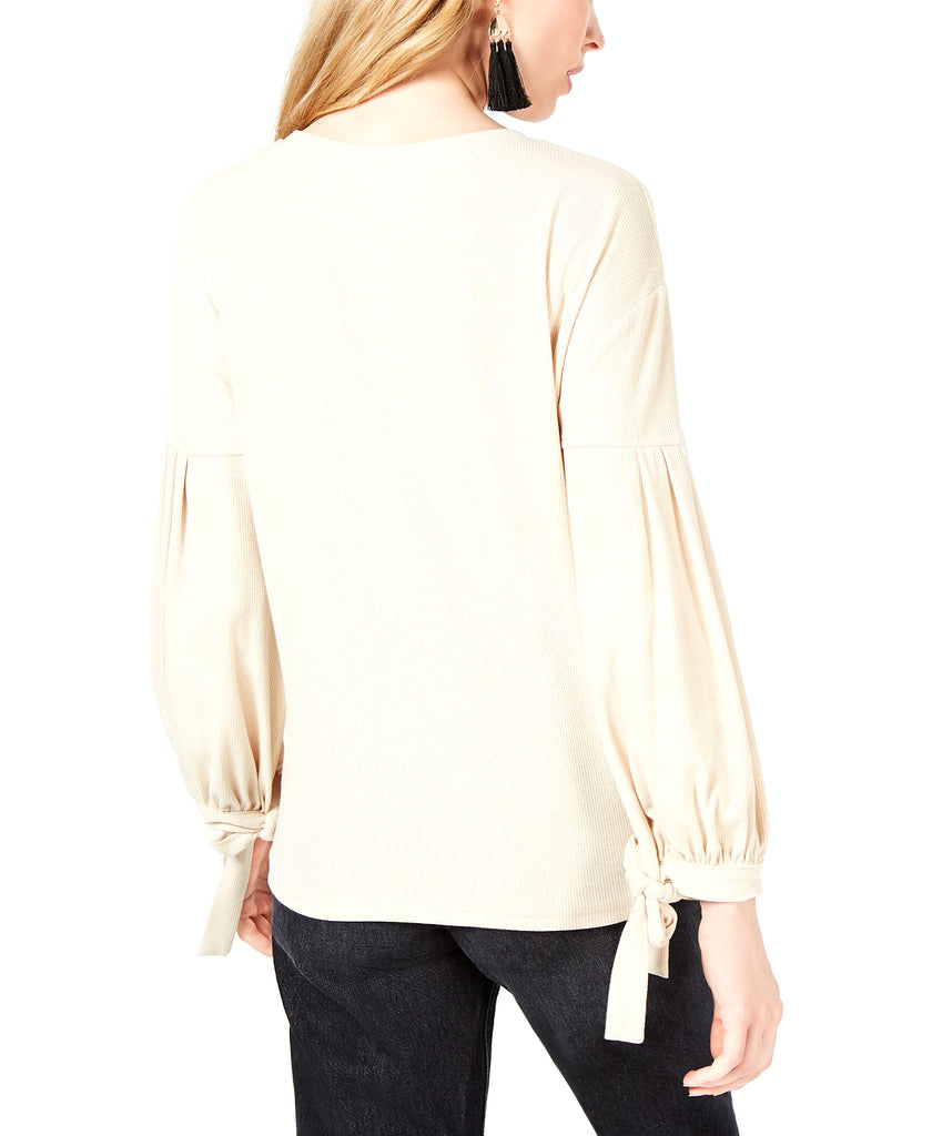 Yieldings Discount Clothing Store's Long Sleeve Tie-Sleeves Top by Sage in Beige