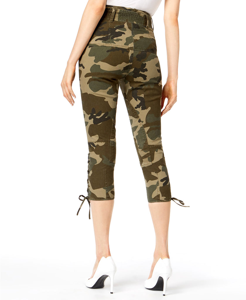 Yieldings Discount Clothing Store's Lace-Up Capri Pants by Kendall + Kylie in Green Camo