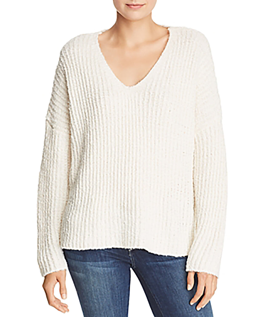 Yieldings Discount Clothing Store's Ribbed Knit Oversized V-Neck Sweater by Sadie & Sage in Ivory