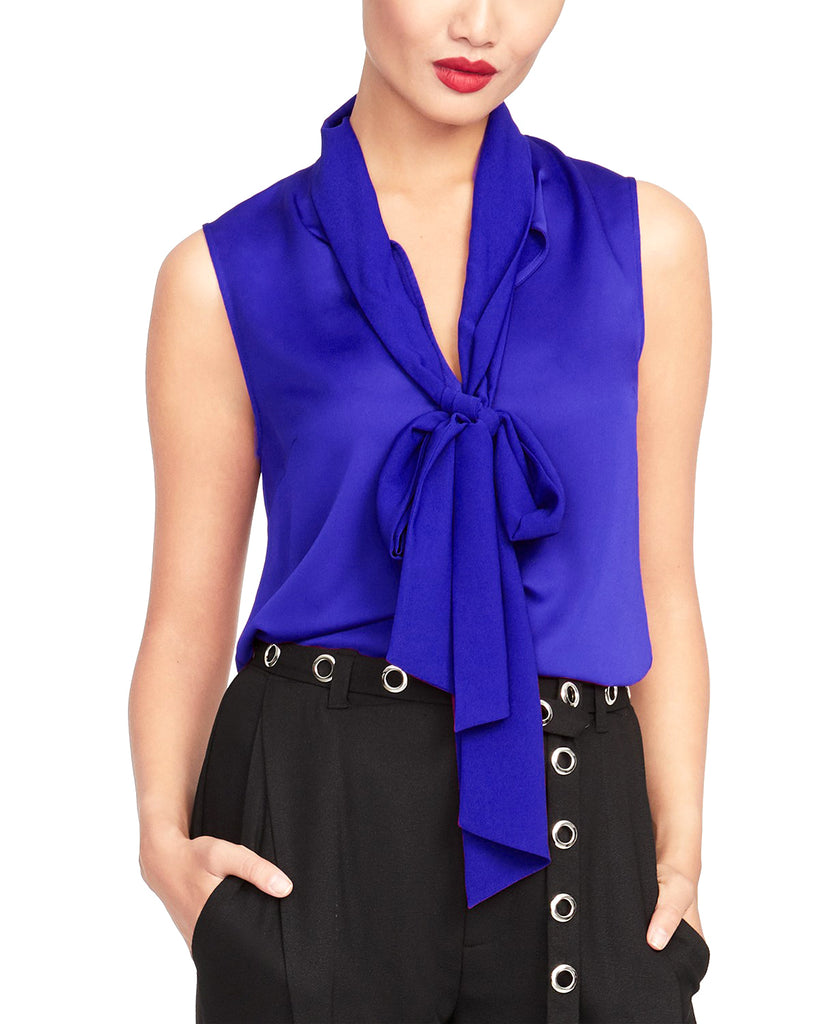 Yieldings Discount Clothing Store's Jasper Tie-Neck Top by RACHEL Rachel Roy in Royal Blue