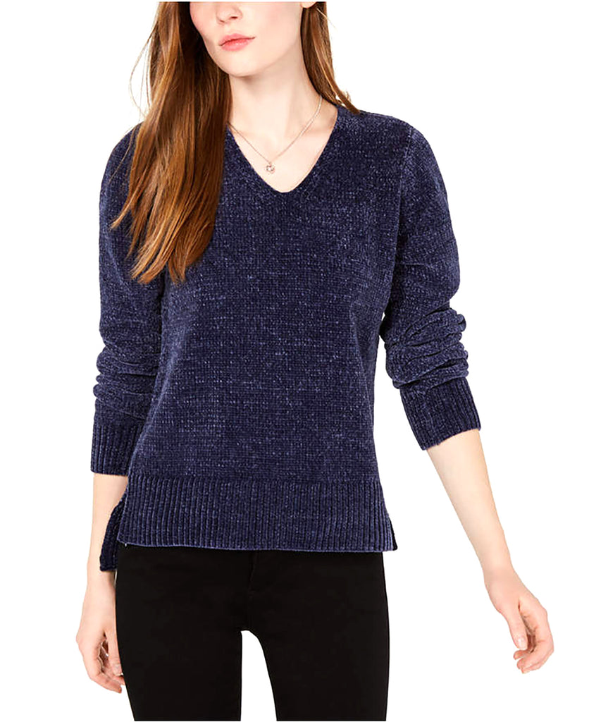 Yieldings Discount Clothing Store's V-Neck Chenille Sweater by Maison Jules in Blu Notte