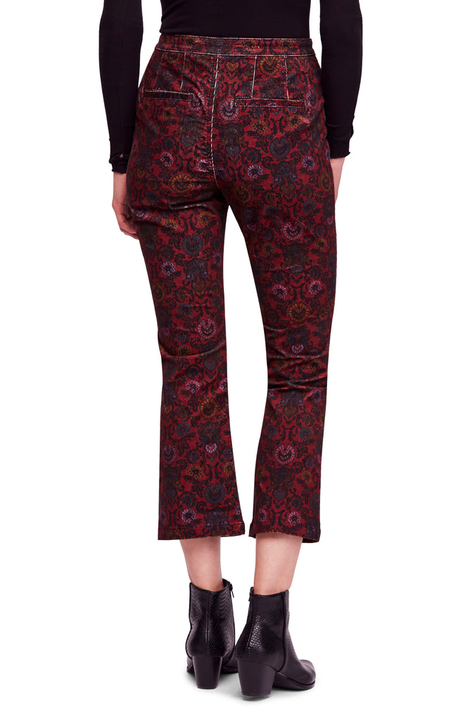 Yieldings Discount Clothing Store's Corduroy Printed Cropped Jeans by Free People in Wine