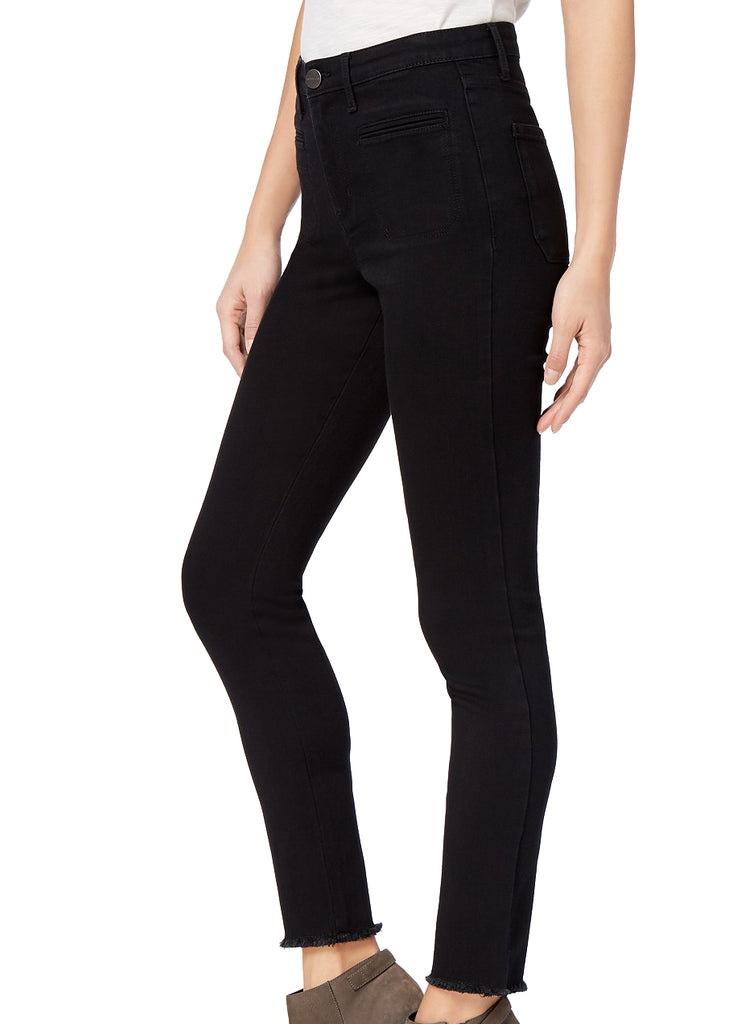 Yieldings Discount Clothing Store's Black Fringe Skinny Ankle Jeans by Maison Jules in Saturated Black
