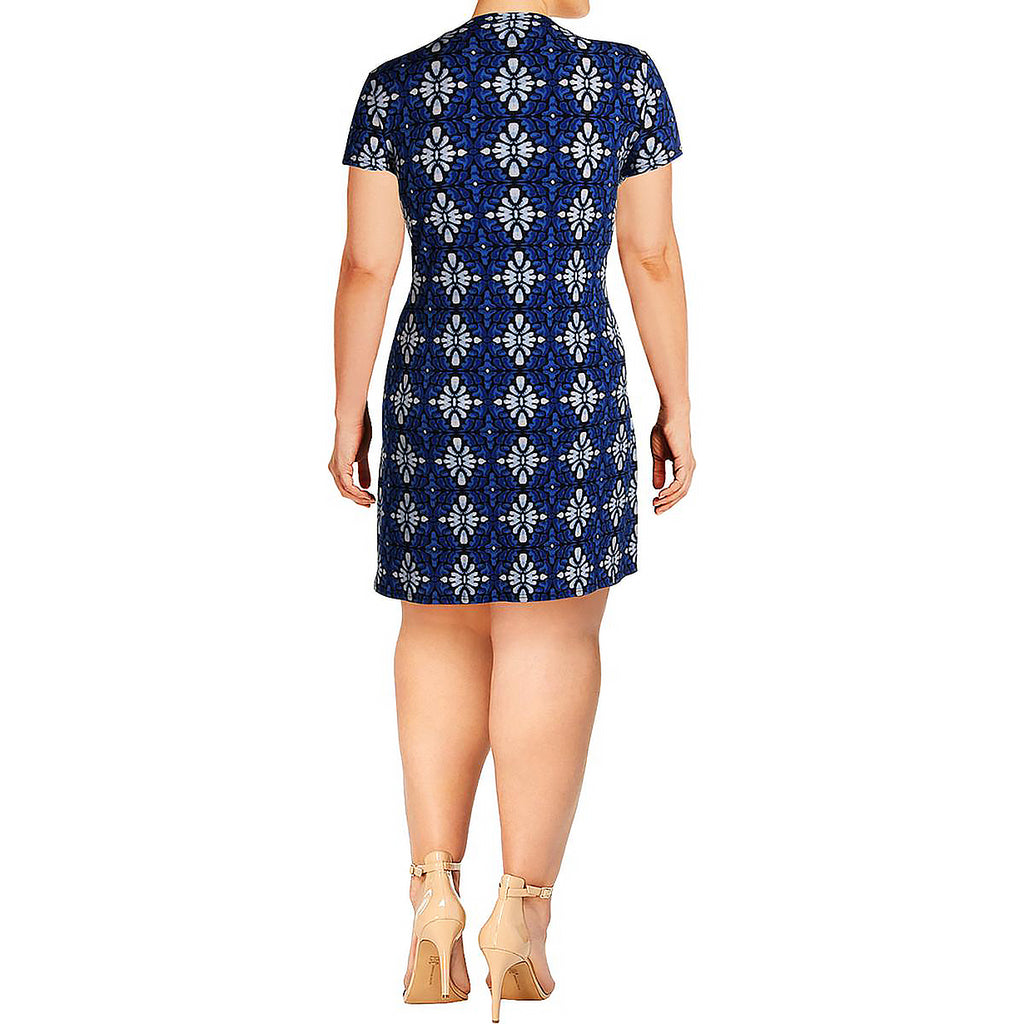 Yieldings Discount Clothing Store's Flutter Sleeve Dress by Leota in Terrazo Blue