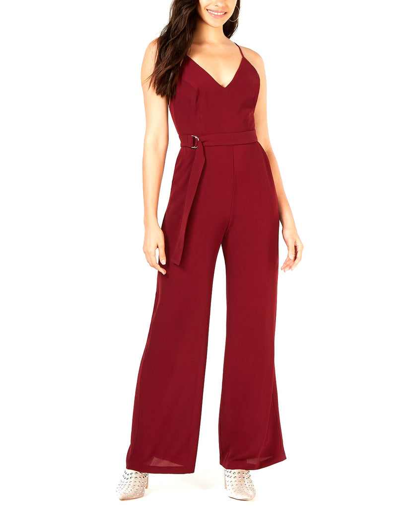 Yieldings Discount Clothing Store's Strappy-Back Wide-Leg Jumpsuit by Leyden in Burgundy