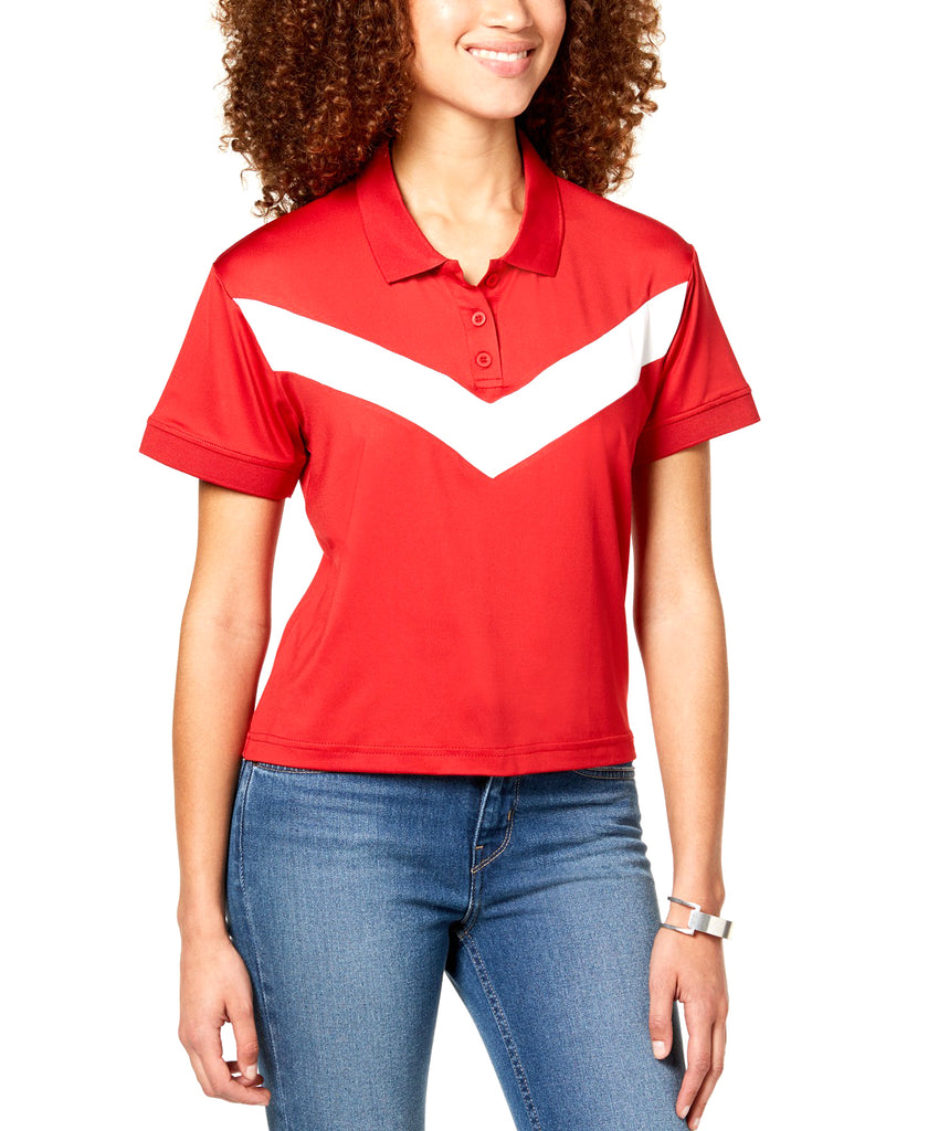 Yieldings Discount Clothing Store's Cropped Chevron-Stripe Polo by Almost Famous in Red