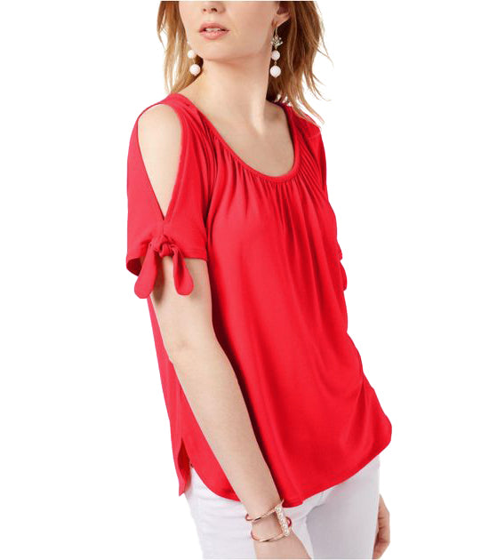 INC | Cold Shoulder Tie Sleeve Top