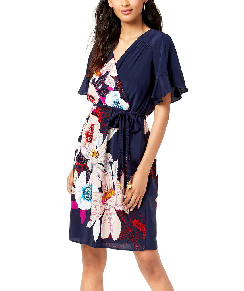 Yieldings Discount Clothing Store's Printed Braid-Belt Surplice Dress by Trina Turk in Multi