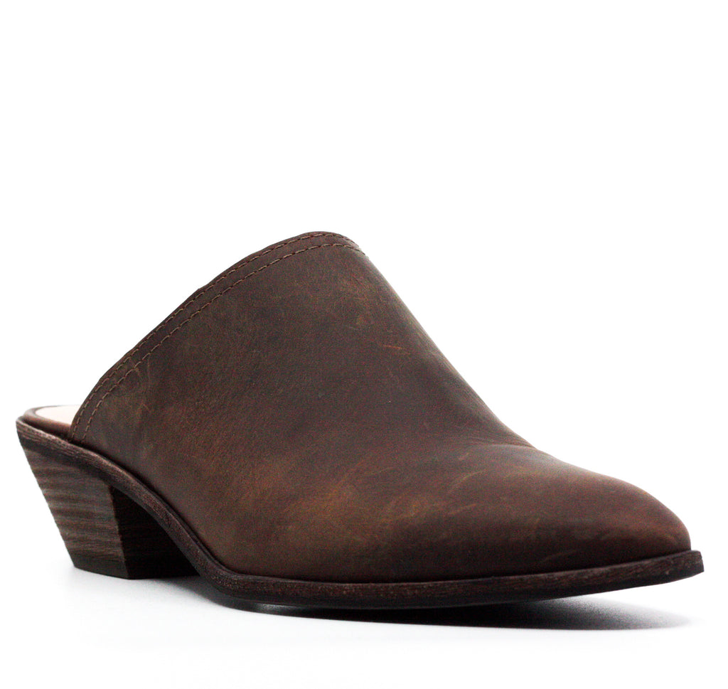 Yieldings Discount Shoes Store's Nikki Leather Block Heel Mules by Bass in Brown