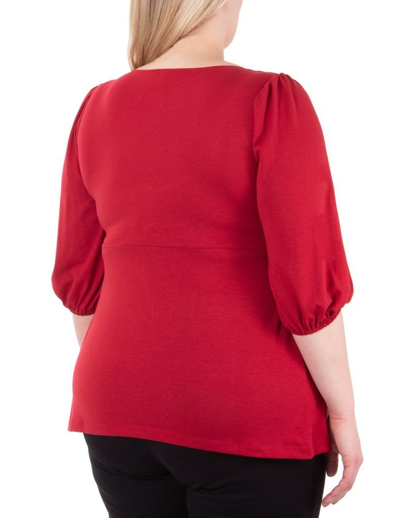 Yieldings Discount Clothing Store's Shirred Balloon-Sleeve Top by NY Collection in Chili Pepper
