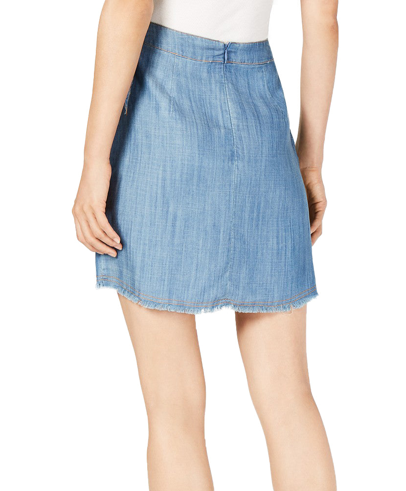 Yieldings Discount Clothing Store's Faux-Wrap Skirt by Sage in Denim