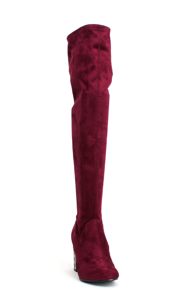 Yieldings Discount Shoes Store's Quantum Over-The-Knee Boots by Carlos by Carlos Santana in Malbec