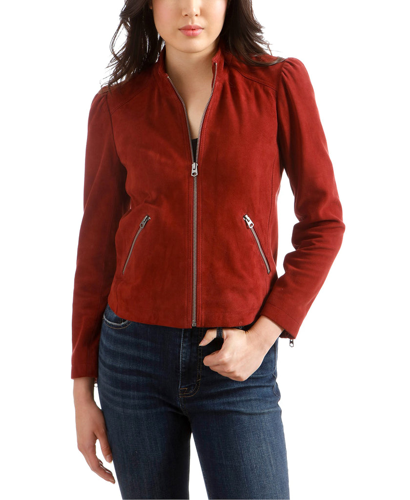 Yieldings Discount Clothing Store's Suede Puff Sleeve Jacket by Lucky Brand in Burgundy