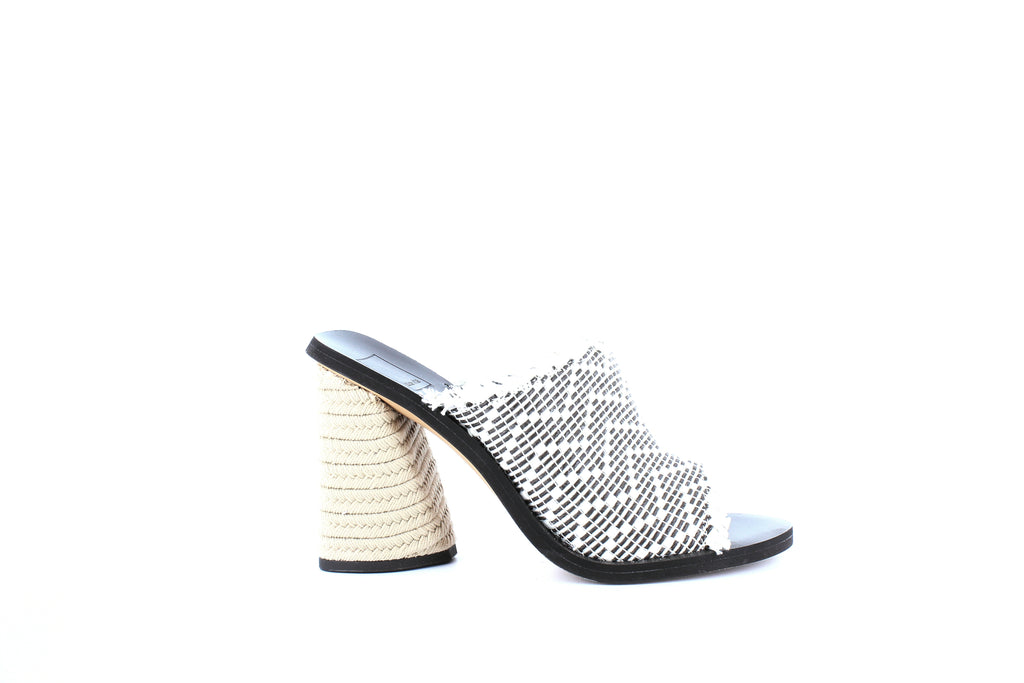Yieldings Discount Shoes Store's Alba Heeled Slides by Dolce Vita in Black/White Woven