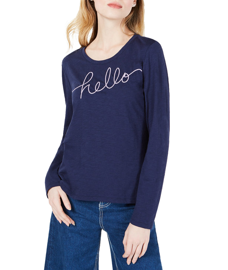 Yieldings Discount Clothing Store's Hello-Goodbye Graphic Top by Maison Jules in Blu Notte
