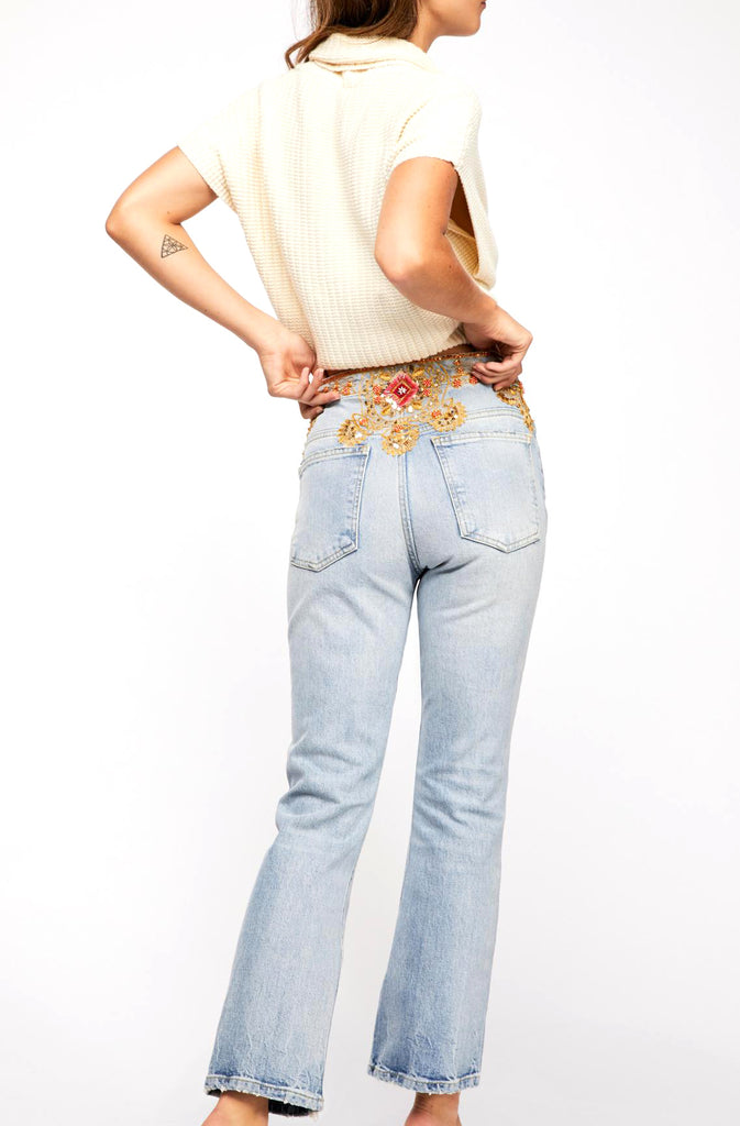 Yieldings Discount Clothing Store's Ripped Embellished Button-Fly Jeans by Free People in Blue