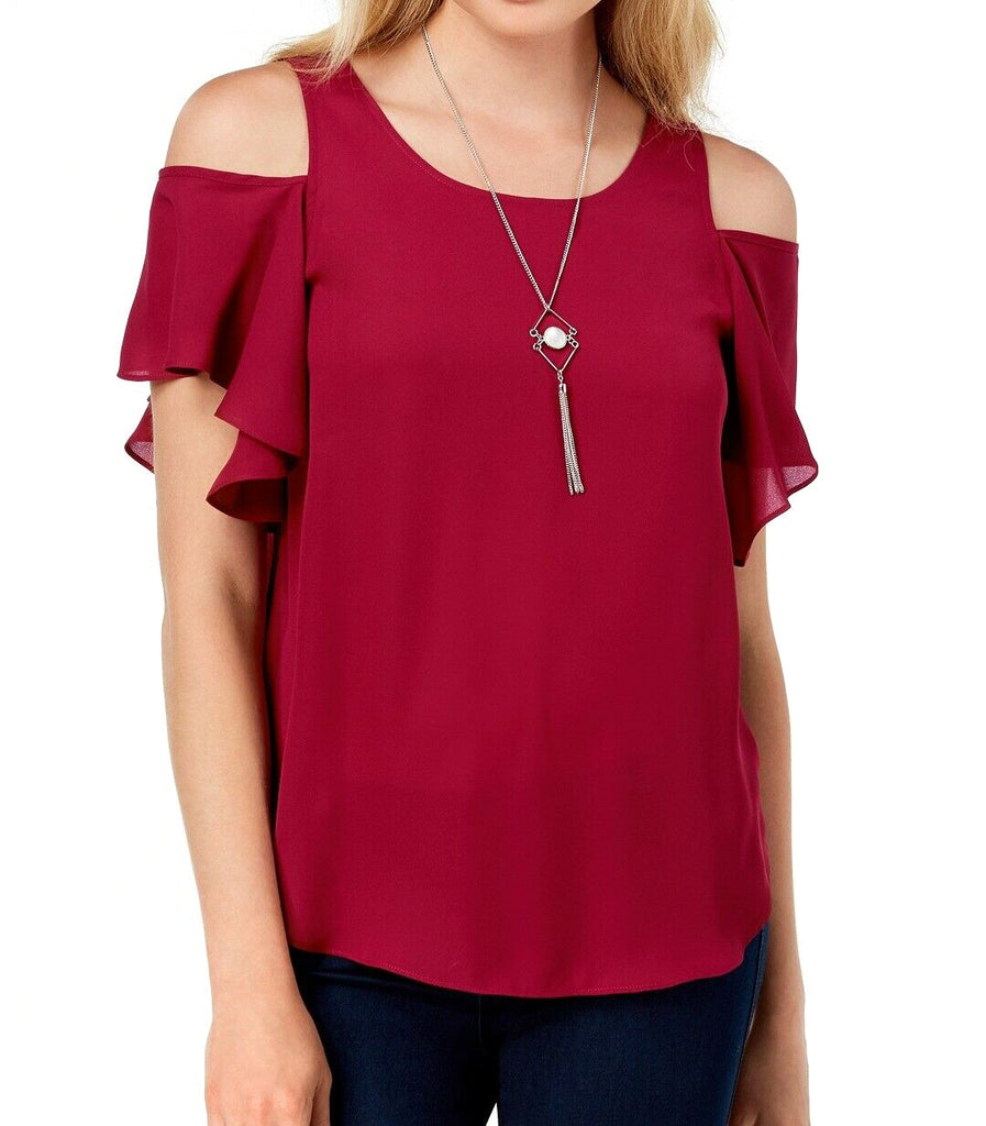 Yieldings Discount Clothing Store's Cold-Shoulder Necklace Top by BCX in Wine