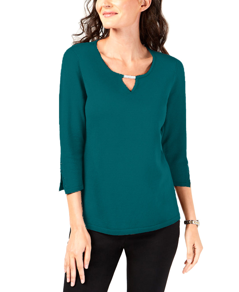 Yieldings Discount Clothing Store's Buttoned-Cuff Keyhole Top by JM Collection in Teal Abyss