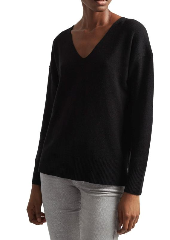 Yieldings Discount Clothing Store's V-Neck Tunic Sweater by French Connection in Black