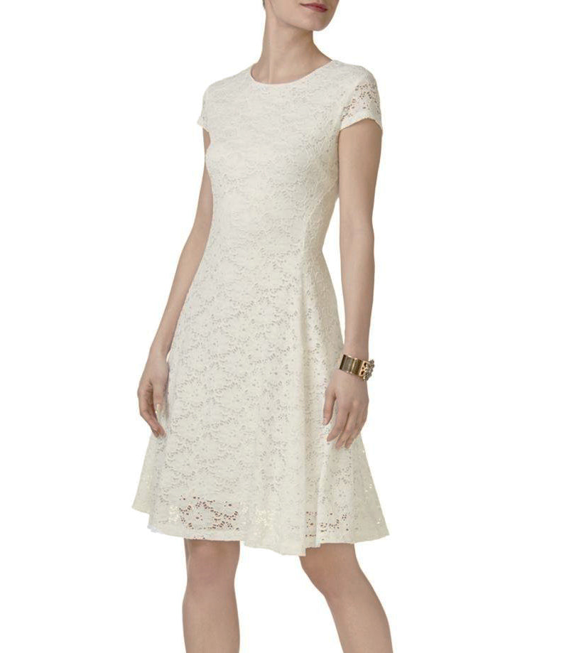 Yieldings Discount Clothing Store's Petite Lace Fit Flare Dress by Alfani in Silver Peony