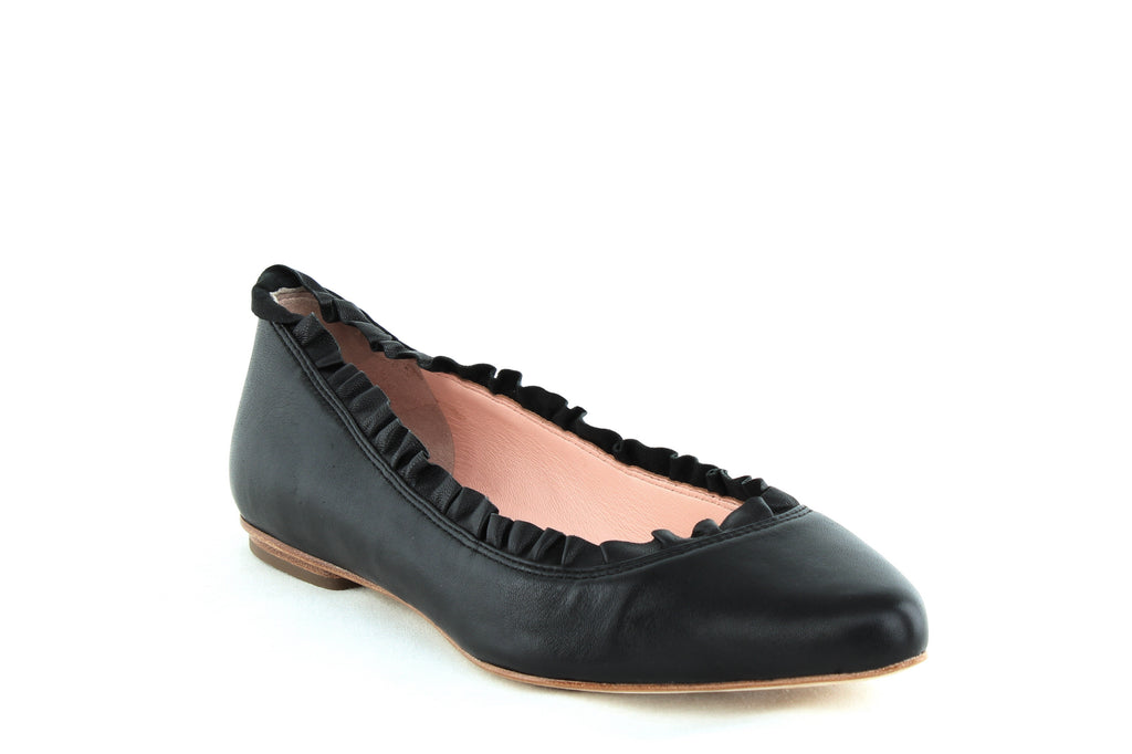 Yieldings Discount Shoes Store's Nicole Ruffled Trim Flats by Kate Spade in Black Nappa