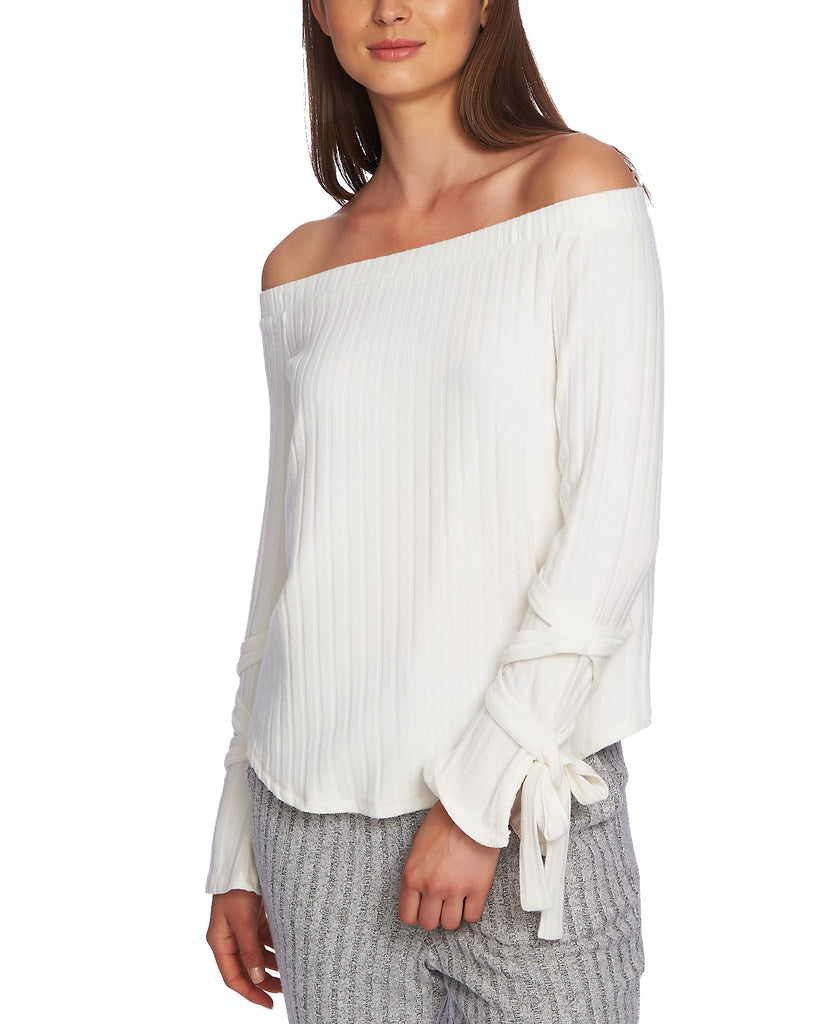 Yieldings Discount Clothing Store's Cozy Off-the-Shoulder Tie-Sleeve Top by 1.State in Soft Ecru
