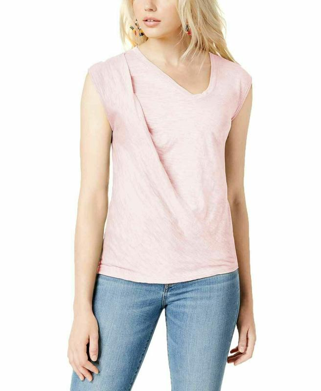 Yieldings Discount Clothing Store's Twist Slub T-Shirt by Bar III in Ballet Pink